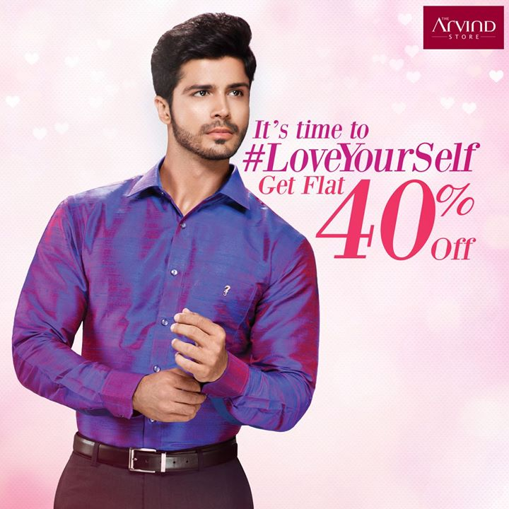 It's time to #LoveYourself this Valentine's Day! To get your #FlauntModeOn here's a Flat 40% off on your favourite The Arvind Store apparel.