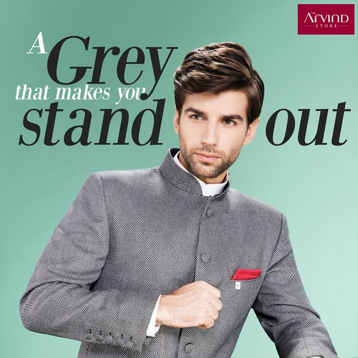 Look sophisticated for the evening with a charcoal grey Jodhpuri and a white Kurta. #ArvindStyleTips
