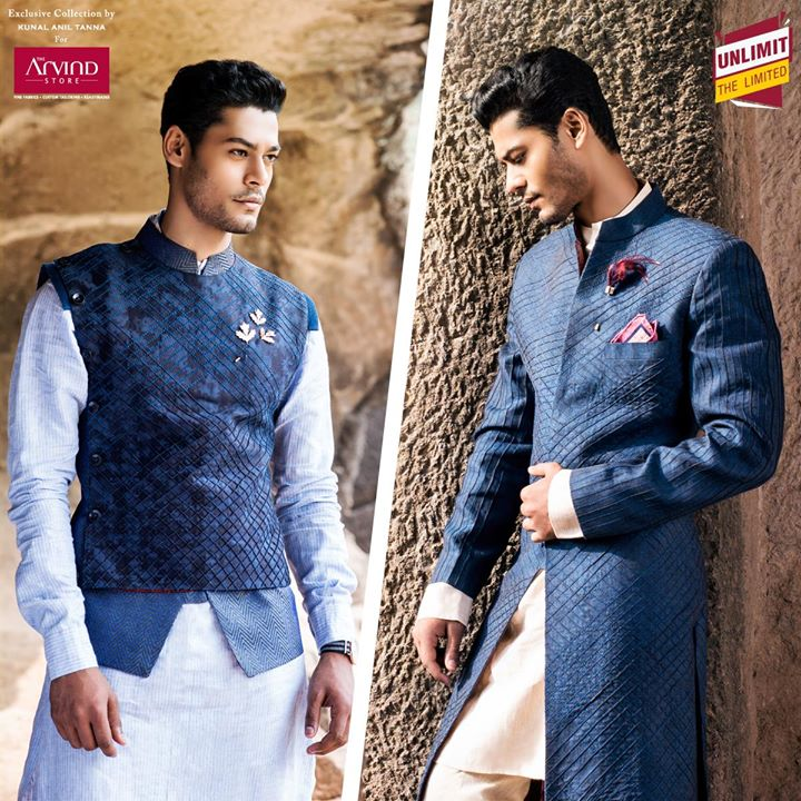 For those occasions, when you'd like to make a great impression... Choose an exquisite linen Achkan or a mesmerizing Jacquard bandi at http://bit.ly/1NkmrvQ #UnlimitTheLimited  #KunalAnilTanna