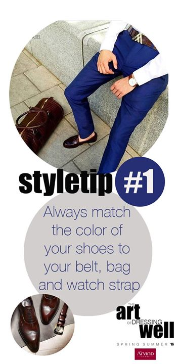 A gentleman always matches the color of his shoes with his belt and watch strap. If you are a keen perfectionist match even the texture! Have all the 3 in burgundy croc leather for example. Watch this space for more #styletips directly from our Fashion Director and become a connoisseur of #theartofdressingwell The Arvind Store #MensWear #IndianFashion #MensFormals #Dappermen  #CreativeDirector #SounakSenbarat #SpringSummer16 #MensFashionTrends #SS16MensWear