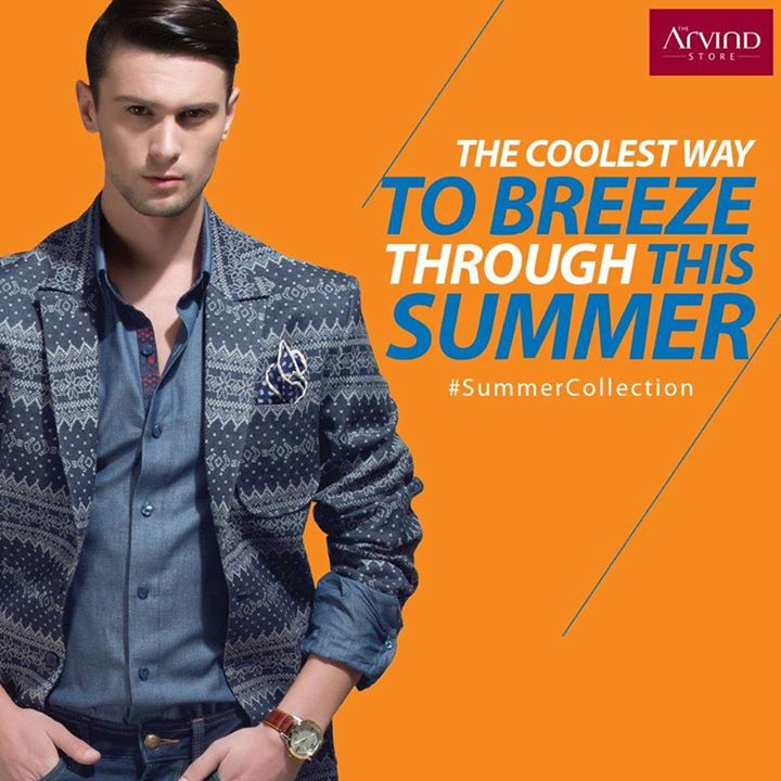 Presenting a denim jacquard coat with shaped notch collar and extended flap to help you stay breezy and easy. #SummerCollection. Check out the exclusive collection at http://bit.ly/1TGx7SE