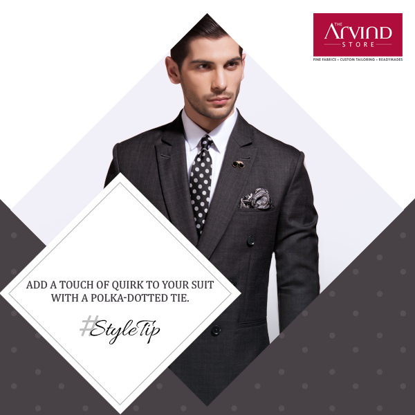 Polka dots are known to zest-up any attire. Add them to your everyday formals to give them a stylish twist. #StyleTip