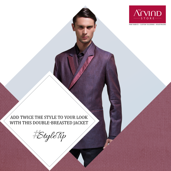 A double-breasted jacket has its own charm and truly personifies class. Just pair it with a slim fit shirt and trousers. #StyleTip