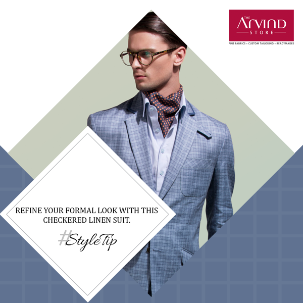 A light blue shirt is the spine of a good wardrobe, and this checkered linen suit takes it to new heights. #StyleTip