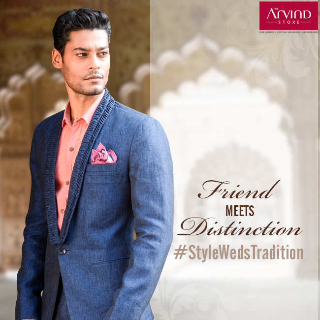A friend is always dedicated to enhancing every bit of your special day. Well, he can't do it wearing something ordinary.  Visit your nearest Arvind store: http://bit.ly/TAS_Locator #StyleWedsTradition