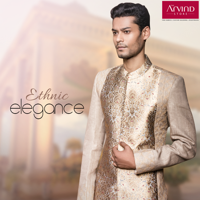 Enhance your look with this stylish traditional attire, radiating class in every stitch.  Visit your nearest Arvind store: http://bit.ly/TAS_Locator