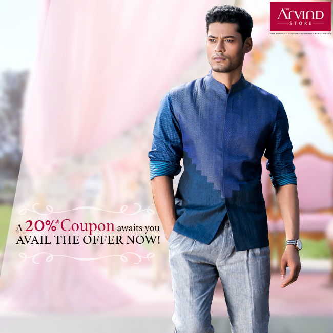Reward yourself with up to 20% coupon on exclusive collection from The Arvind Store.  Check the link to avail the offer: http://bit.ly/DownloadCoupon