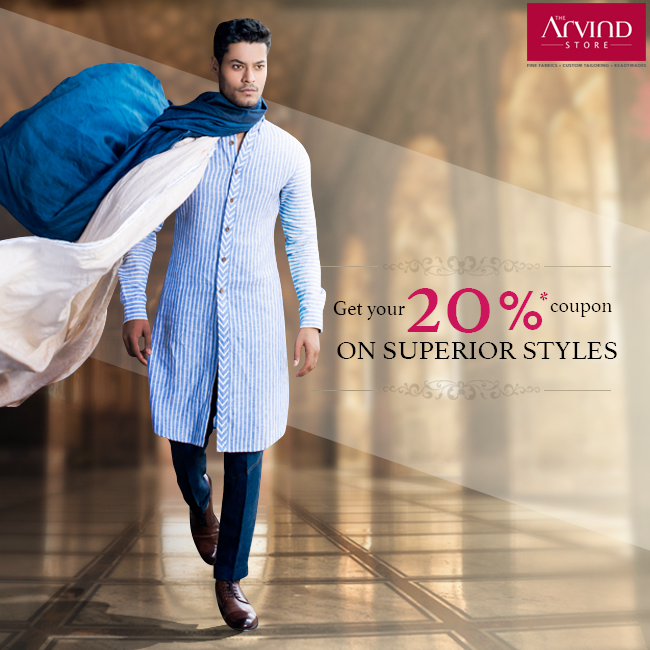 Enjoy a discount coupon up to 20% on the finest premium attires crafted to perfection.  Click the link to avail the offer: http://bit.ly/DownloadCoupon