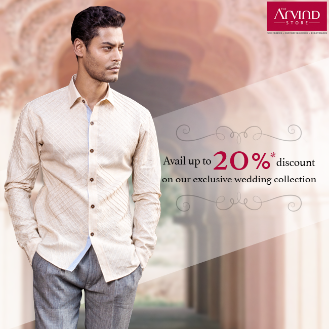 Get your hands on an exclusive range of Wedding Collection that will truly captivate you. Now available up to 20% discount at The Arvind Store near you! Grab the offer here: http://bit.ly/DownloadCoupon