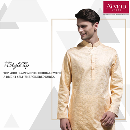 A plain white churidaar is one of the most simple and graceful attires to don. Add a touch of shimmer to it with a brightly coloured kurta. #StyleTip