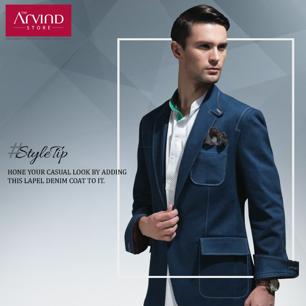 Experiment with your casual fashion. Add a lapel coat to it and refine your look. #StyleTip