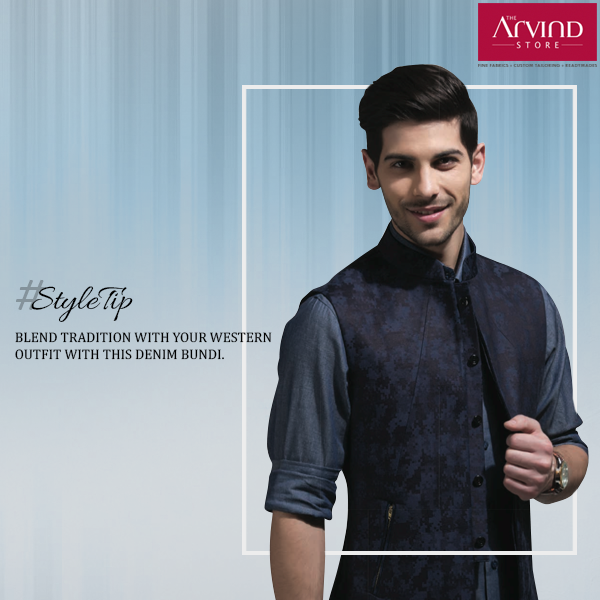 Bring in the elegance of our heritage to your western attire with this Denim Bundi. #Styletip