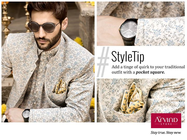 The festive season is upon us, make an offbeat impression by adding a pocket square to your mandarin collar, linen printed Bandhgala .  Visit: http://bit.ly/TAS_Locator