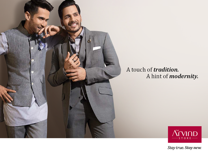 Make a lasting impression with the neat Mandarin-collar kurta or classic grey hued wool-blend suit. #StayTrueStayNew.   Visit:  http://bit.ly/TAS_Locator
