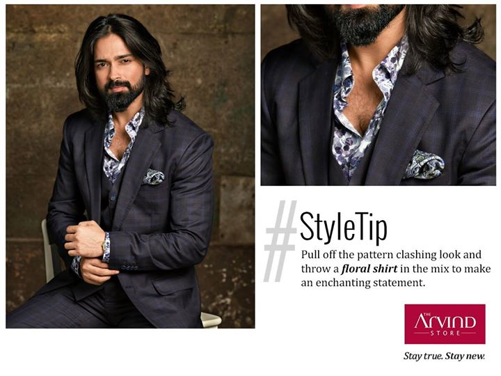 Ace the trend of dark checkered suit paired with floral shirt to be the spotlight at any wedding event. #stayTrueStayNew
