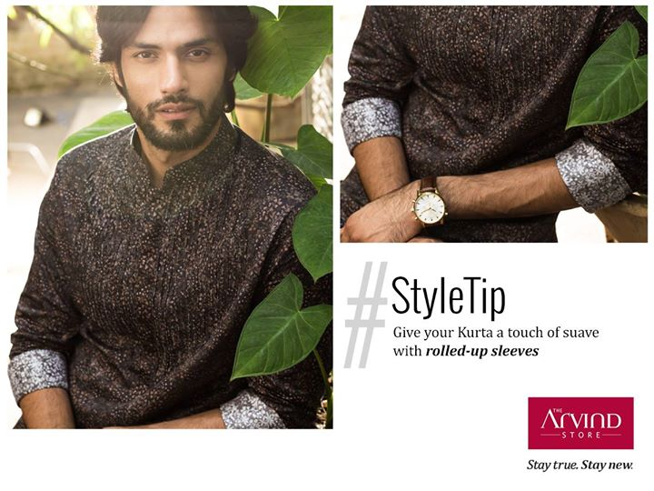 Kurtas can give you a charismatic appeal when donned the right way. Wear this Bundi Kurta with your sleeves rolled and make a statement. #StayTrueStayNew #StyleTip