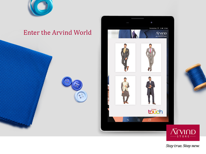 Create your personal look! Choose your fabric and customize your garments, all with a single touch with #TheArvindTouch. Available at #TheArvindStore near you! #StayTrueStayNew  Visit: http://bit.ly/TAS_Locator