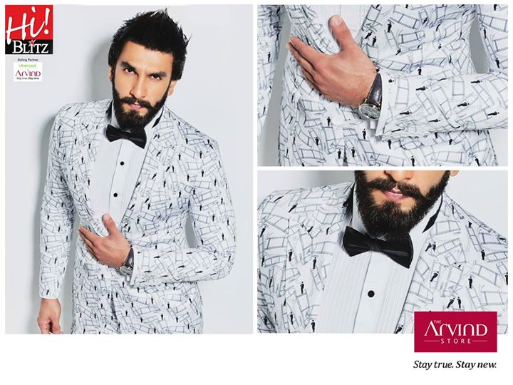 We can't blame you for wanting to dress like Ranveer Singh. Check him out on the cover of Hi! BLITZ exuding class and style in our Uber Cool range. #StayTrueStayNew #UberCool
