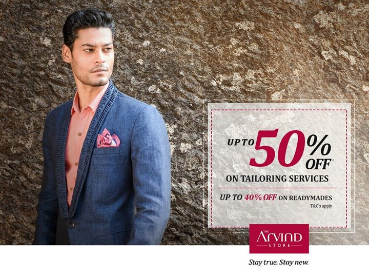 Now save big on your favourite apparels and custom tailoring. Rush in today at your nearest The Arvind Store. T&C's:  http://bit.ly/EOSSTAS