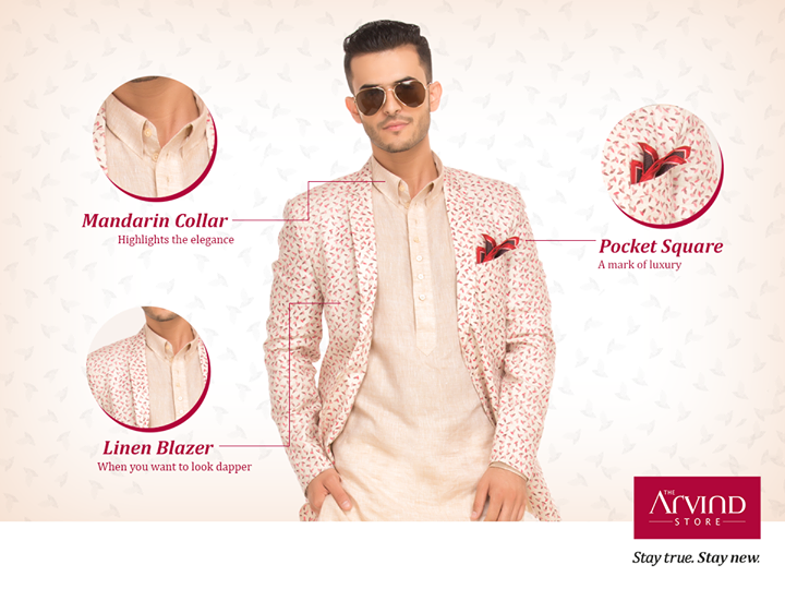 Plenty of ways to amp up your Kurta but none are better than a linen jacket. #StyleTip #StayTrueStayNew #TheArvindStore
