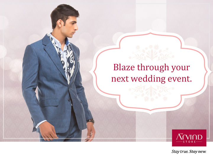 Look sharp and dapper at your next wedding event with a Blazer. Pick one for yourself today at your nearest The Arvind Store: bit.ly/TAS_Locator #StayTrueStayNew