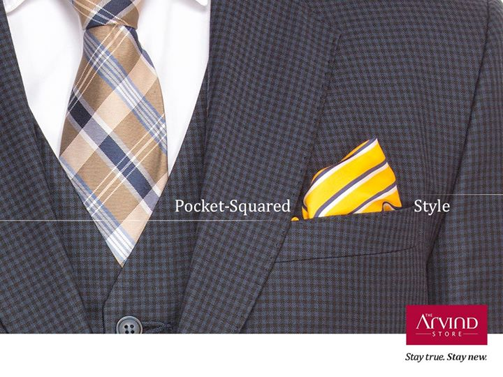Sure, pocket square do raise the charm of your suit, just don't make the mistake of matching it with your tie either in style or in fabric.  #StayTrueStayNew #TheArvindStore