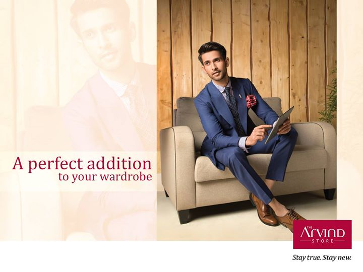 With the mercury levels rising, this cool blue suit is a must-have possession in every gentleman's wardrobe. How about making a statement with this one at special occasions?  Visit The Arvind Store: bit.ly/TAS_Locator