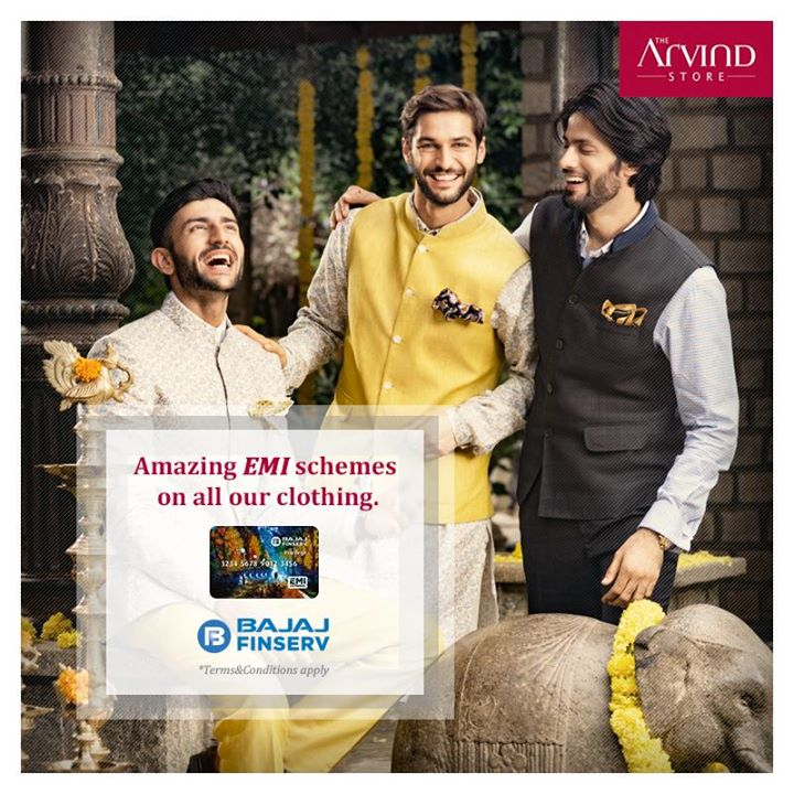 Don't think twice before getting your favourite style. Register today with Bajaj Finserv and get amazing EMI schemes on all our clothing.  Visit your nearest The Arvind Store today: bit.ly/TAS_Locator.