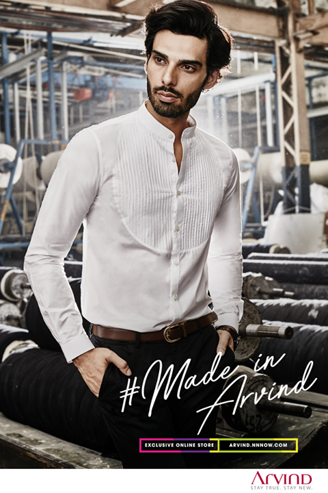 For a stylish take on your ceremony fashion, our premium cotton mandarin shirt looks best when paired with dark coloured trousers. Get this look today! http://bit.ly/ShopReadyToWear #ReadyToWear #MadeInArvind