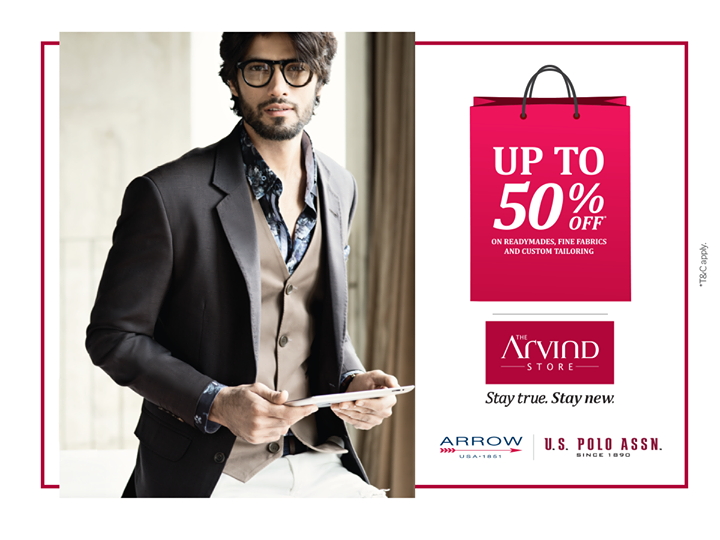 An offer you just can't resist! Visit your nearest Arvind store and get upto 50% off on Fabric, Readymades and Tailoring services. What are you waiting for? Hurry up!