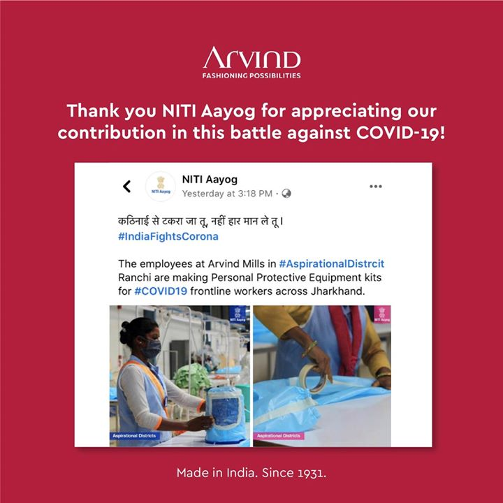 Thank you NITI Aayog for appreciating our contribution in the fight against Coronavirus. We will do what we can to contribute to this fight against the deadly virus.  . . #ArvindMenswear #Arvind #TheArvindStore #smartcasual #fashioninstagram #dressforsuccess #itsaboutdetail #whowhatwearing #thearvindstore #classicmenswear #mensfashion #malestyle #selfisolation #lockdown2020 #positivevibes #positive #positivemindset #NitiAayog #PPEkits #facemask #indiafightscorona #coronawarriors