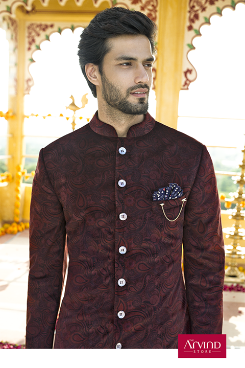 This printed velvet Achkan from our latest Autumn Winter collection rightly defines the ethnic style and deserves a place in every wardrobe. Visit the nearest store and browse through our collection