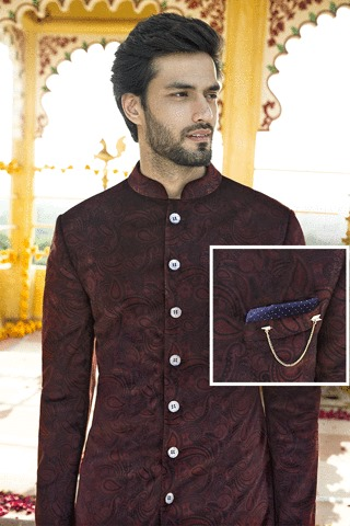 When it comes to contemporary fashion, 'pocket-squares' are the ideal embellishment for style and sophistication. Here are few ways to style the pocket square with this printed velvet Achkan.