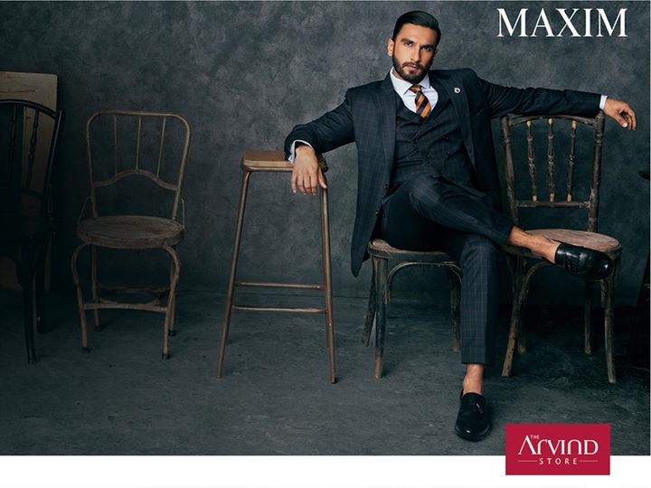 Exude a new attitude of relaxed elegance. Ranveer Singh looks elegant wearing the Black Jacquard Tuxedo from our latest AW'17 collection for Maxim.
