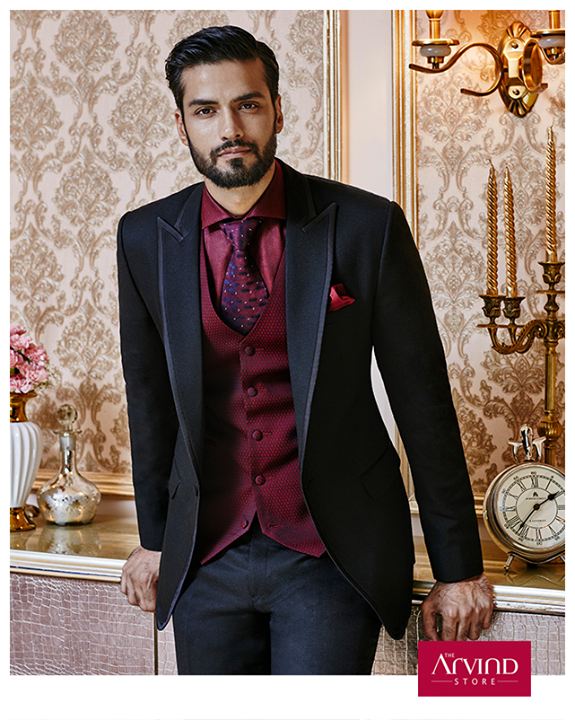 Make an arresting impression at your friend's cocktail party with this stunning 3 piece broken suit from our Handcrafted Ceremonial Collection. Book an appointment today at http://bit.ly/TASBookAnAppointment