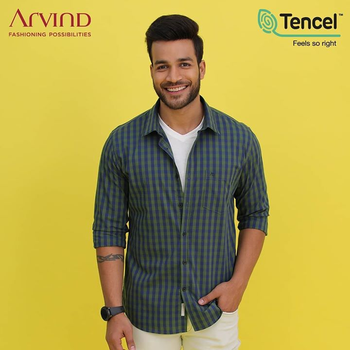 Ethical, edgy and feels just right! Look good and feel good with Arvind X TENCEL™ . With comfort and sustainability at the forefront of this collection, you are sure to stand out from the crowd in a more eco-friendly yet fashionable outfit.  #FeelGoodFashion #Tencel #Arvind #TheArvindStore #ADArvindReaadytoWear #ArvindMensWear #ADSince1931 #MensFashion #SustainableFashion #SustainableLiving #ConsciousClothing #SustainableShirts  #Fashion #Menswear #Sustainability