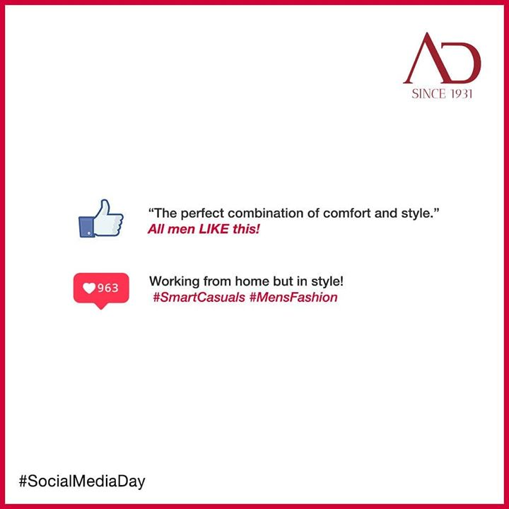 This World Social Media Day, let your virtual reactions take centre stage! Show love for your favourite style and keep up with the trends!  #SocialMediaDay #SocialMediaDay2020 #Instagram #Facebook #ADArvindReaadytoWear #Arvind #ADArvind #ArvindMensWear