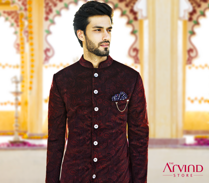 In the season of weddings and celebrations, don't just look your best, look magnificent. Here's a printed velvet achkan for your joyful moments. Visit our stores today and get upto 50% Off on your favourite outfits T&C* applied - http://bit.ly/TASStoreLocator
