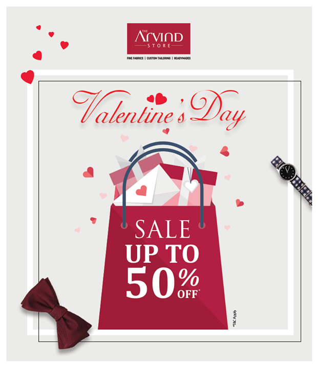 Here's an amazing offer to smarten up your look for Valentine's Day! Visit our stores today, pick your favourite outfit and enjoy discount upto 50% OFF on fine fabrics, Arrow and US Polo, T&C* applied - bit.ly/TASStoreLocator