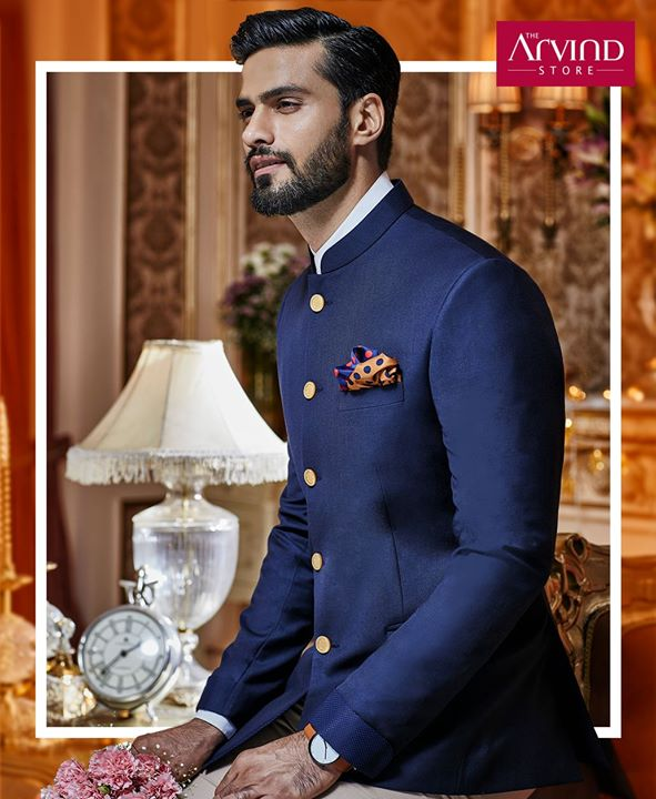 Celebrations get better when you choose the perfect attire. Come, explore the distinct navy blue bandhgala that befits the wedding festivities. Book an appointment at our nearest store - http://bit.ly/TASBookAnAppointment