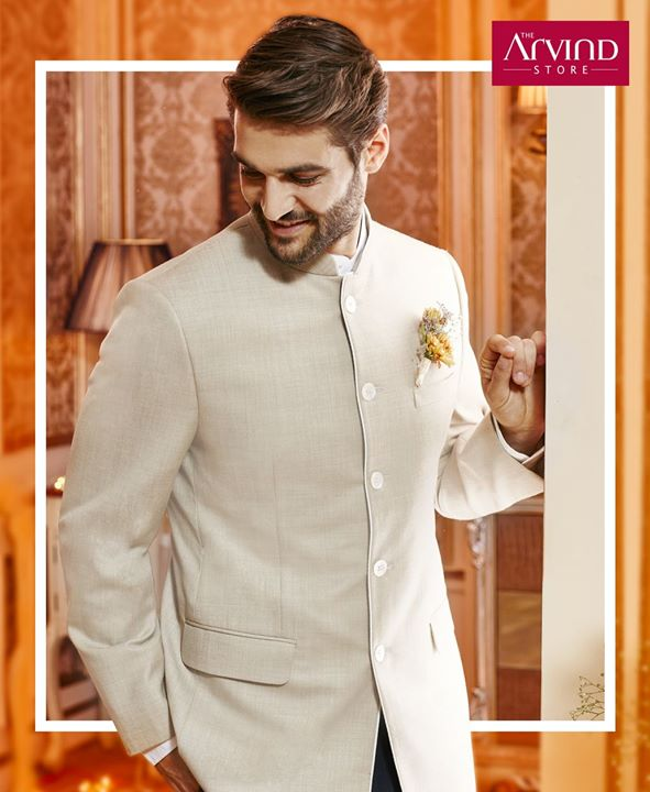 The traditional essence of this bandhgala makes it a winner for the wedding outfit! Come, get the look that helps you steal the show at the next wedding you attend. Book your appointment today - http://bit.ly/TASBookAnAppointment