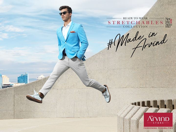 Stretch easy with this all-day-long look! Dress up for office hours and double it up for the after-party easily, with the sky blue knit blazer and comfortable chinos. Experience the stylish Ready-To-Wear choices from our #SpingSummer #StretchablesCollection  #MadeInArvind #readytowear