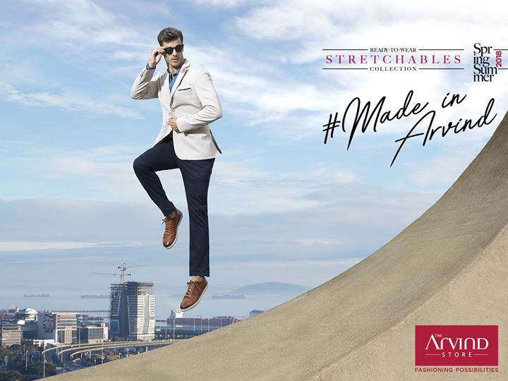 Grab this textured stretchable blazer that sets you apart with a rich combination of oxford shirt and chinos. Head to our nearest store and explore our Ready-To-Wear #SpringSummer #StretchablesCollection #MadeInArvind