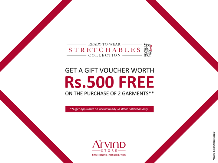 Amazing fashion just got better with a more than amazing offer! Buy 2 garments from our Ready To Wear collection and get a Free gift voucher worth Rs. 500. Hurry! Visit the nearest store now – bit.ly/TASStoreLocator