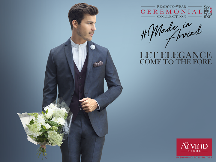 Be the true gentleman as you adorn this minimalistic suit from our #ReadyToWear Ceremonial Collection. Check out the wide range of options at your nearest Arvind store:  bit.ly/TASStoreLocator