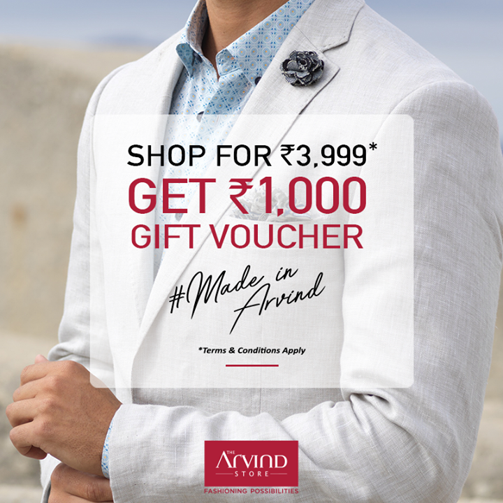 Summer time styles are up for grabs, what are you waiting for? Shop from our #ReadyToWear collection worth Rs. 3999 and get a gift voucher worth Rs. 1000. Head over to redeem the offer: https://bit.ly/2wPLbtJ #MadeInArvind