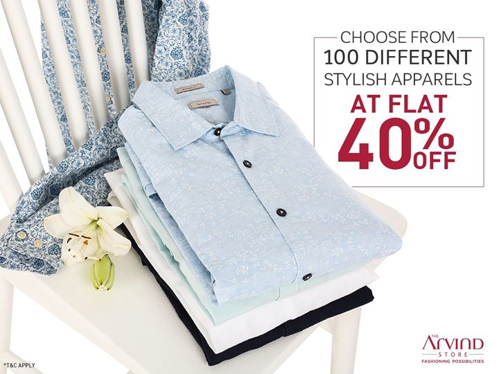 100 classy and sophisticated apparels await you at the Arvind Store. Shop during the Best of Season Sale and get 40% off these apparels and also on other readymade garments.  Hurry! Valid on select stores: bit.ly/TASStoreLocator