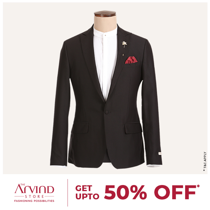 Grab this trendy blazer at up to 50% off. Why wait? Hurry! Check out many more ready-to-wear options here: http://bit.ly/2uTB2rM  #ReadyToWear #TheArvindStore #ShopNow  T&C apply.