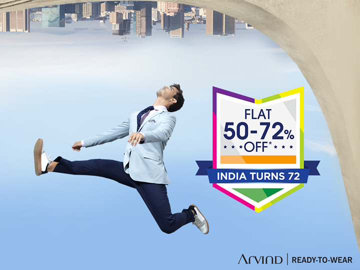 Freedom sale, avail upto 72% sale on Arvind Ready to Wear range.  Hurry !! http://bit.ly/2MHouv1 T&C apply
