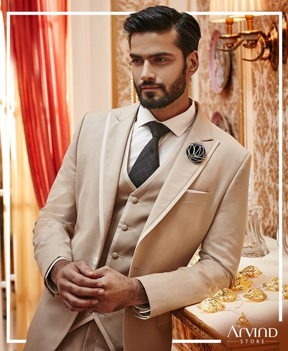 Looking for something that lights up your look at a friend's wedding?  Get this classy premium poly wool 3 piece lapel suit at you nearest Arvind store: bit.ly/TASStoreLocator